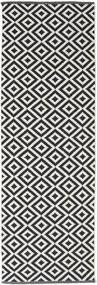 Torun - Black/Neutral Rug 80X300 Authentic Modern Handwoven Hallway Runner Black/Light Grey (Cotton, India)