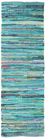 Ronja - Green Mix Rug 80X250 Authentic  Modern Handwoven Hallway Runner  Turquoise Blue/Turquoise Blue (Cotton, India)