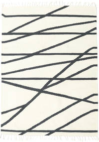 Cross Lines - Off White/Black Rug 160X230 Authentic  Modern Handwoven Beige/Dark Grey (Wool, India)