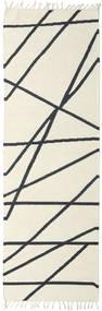 Cross Lines - Off White/Black Rug 80X250 Authentic  Modern Handwoven Hallway Runner  Beige/Dark Grey (Wool, India)