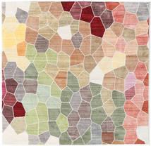 Play Of Colours Rug 150X150 Modern Square Light Grey/Dark Beige ( Turkey)