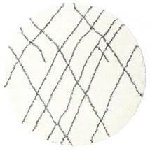 Shaggy Tangier - White/Dark Grey Rug Ø 200 Modern Round Beige/White/Creme ( Turkey)