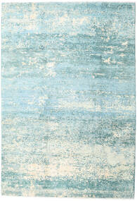 Damask Collection Rug 193X282 Authentic  Modern Handknotted Turquoise Blue/Light Blue ( India)