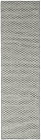 Kilim Honey Comb - Grey Rug 80X440 Authentic  Modern Handwoven Hallway Runner  Dark Grey/Light Grey (Wool, India)