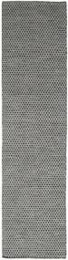 Kilim Honey Comb - Black/Grey Rug 80X440 Authentic  Modern Handwoven Hallway Runner  Dark Grey/Light Grey (Wool, India)