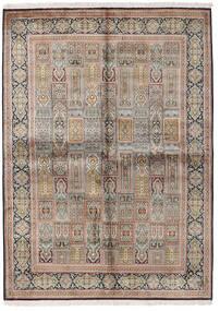 Kashmir Pure Silk Rug 155X214 Authentic  Oriental Handknotted Light Grey/Brown (Silk, India)