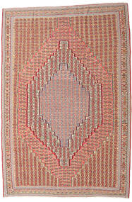 Kilim Senneh Rug 203X306 Authentic  Oriental Handwoven Dark Red/Light Brown (Wool, Persia/Iran)