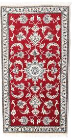 Nain Rug 70X135 Authentic  Oriental Handknotted Crimson Red/Light Grey (Wool, Persia/Iran)