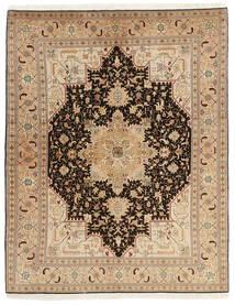Tabriz 50 Raj Rug 150X200 Authentic  Oriental Handwoven Dark Beige/Light Brown (Wool/Silk, Persia/Iran)