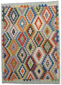 Kilim Afghan Old Style Rug 146X198 Authentic  Oriental Handwoven Light Grey/Dark Grey (Wool, Afghanistan)