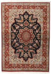 Qum Kork/Silk Rug 143X203 Authentic  Oriental Handknotted Dark Brown/Light Brown (Wool/Silk, Persia/Iran)