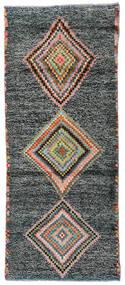 Moroccan Berber - Afghanistan Rug 79X193 Authentic  Modern Handknotted Hallway Runner  Dark Grey/Dark Turquoise   (Wool, Afghanistan)