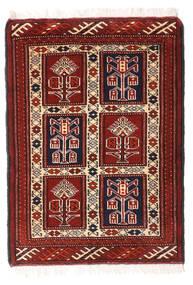 Turkaman Rug 62X86 Authentic  Oriental Handknotted Dark Red/White/Creme (Wool, Persia/Iran)