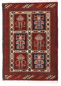 Turkaman Rug 63X87 Authentic  Oriental Handknotted Dark Red/White/Creme (Wool, Persia/Iran)