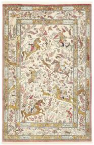 Qum Silk Rug 132X203 Authentic  Oriental Handknotted Beige/Dark Beige (Silk, Persia/Iran)
