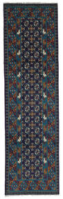 Afghan Rug 80X300 Authentic  Oriental Handknotted Hallway Runner  Dark Blue/Dark Brown (Wool, Afghanistan)