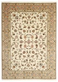 Tabriz 50 Raj Rug 147X206 Authentic  Oriental Handknotted Beige/Light Brown (Wool/Silk, Persia/Iran)