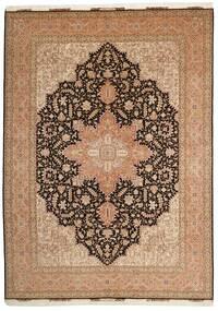 Tabriz 50 Raj Rug 248X347 Authentic  Oriental Handknotted Brown/Dark Brown (Wool/Silk, Persia/Iran)