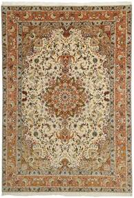 Tabriz 50 Raj Rug 253X358 Authentic  Oriental Handknotted Brown/Light Brown/Dark Beige Large (Wool/Silk, Persia/Iran)