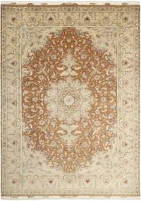 Tabriz 50 Raj Rug 256X363 Authentic  Oriental Handknotted Beige/Dark Beige Large (Wool/Silk, Persia/Iran)