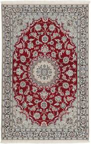 Nain 9La Rug 118X180 Authentic  Oriental Handknotted Light Grey/Dark Red (Wool/Silk, Persia/Iran)