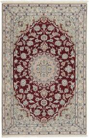 Nain 9La Rug 116X176 Authentic  Oriental Handknotted Light Grey/Dark Red (Wool/Silk, Persia/Iran)
