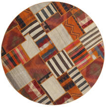 Tekkeh Kilim Rug Ø 200 Authentic  Modern Handwoven Round Dark Brown/Light Grey (Wool, Persia/Iran)