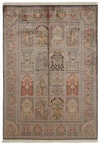 Kashmir Pure Silk Rug 151X218 Authentic  Oriental Handknotted Light Grey/Brown/Light Brown (Silk, India)