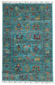 Sharbargan Rug 82X126 Authentic  Modern Handknotted Turquoise Blue/Dark Turquoise  /Dark Grey (Wool, Afghanistan)