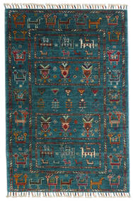 Sharbargan Rug 84X125 Authentic  Modern Handknotted Dark Blue/Dark Turquoise   (Wool, Afghanistan)