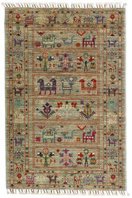 Shabargan Rug 82X124 Authentic  Modern Handknotted Olive Green/Light Grey (Wool, Afghanistan)