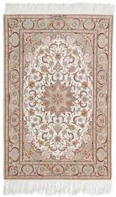 Isfahan Silk Warp Signed Mazaheri Rug 108X163 Authentic  Oriental Handknotted Light Grey/White/Creme (Wool/Silk, Persia/Iran)
