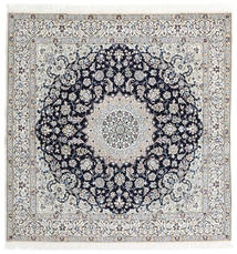 Nain 9La Rug 200X204 Authentic  Oriental Handknotted Square Light Grey/Dark Grey (Wool/Silk, Persia/Iran)