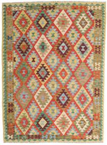 Kilim Afghan Old Style Rug 150X202 Authentic  Oriental Handwoven Dark Beige/Crimson Red (Wool, Afghanistan)