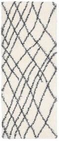 Shaggy Tangier - White/Dark Grey Rug 80X200 Modern Hallway Runner  Beige/White/Creme ( Turkey)