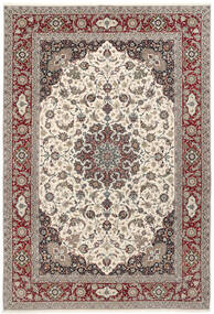 Isfahan Silk Warp Rug 250X360 Authentic  Oriental Handknotted Light Grey/Beige Large (Wool/Silk, Persia/Iran)