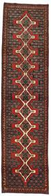 Senneh Rug 93X380 Authentic  Oriental Handknotted Hallway Runner  Dark Red/Dark Brown (Wool, Persia/Iran)