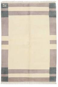 Gabbeh Indo Rug 142X200 Authentic  Modern Handknotted Beige/Light Grey (Wool, India)