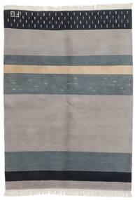 Gabbeh Indo Rug 142X199 Authentic  Modern Handknotted Light Grey/Dark Grey (Wool, India)