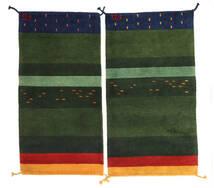 Gabbeh Indo Rug 60X120 Authentic  Modern Handknotted Dark Green (Wool, India)