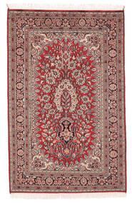 Kashmir Pure Silk Rug 78X122 Authentic Oriental Handknotted Dark Brown/Dark Red (Silk, India)