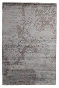 Damask Indo Rug 199X297 Authentic  Modern Handknotted Light Grey/Dark Brown/Dark Grey (Wool/Bamboo Silk, India)