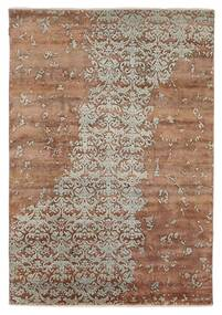 Damask Indo Rug 172X245 Authentic  Modern Handknotted Brown/Light Grey (Wool/Bamboo Silk, India)