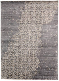Damask Indo Rug 268X365 Authentic  Modern Handknotted Light Grey/Dark Brown/Dark Grey Large (Wool/Bamboo Silk, India)