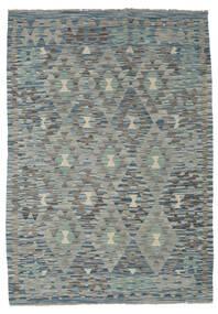 Kilim Afghan Old Style Rug 127X180 Authentic  Oriental Handwoven Light Grey/Dark Grey/Green  (Wool, Afghanistan)