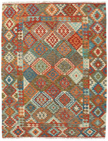 Kilim Afghan Old Style Rug 191X240 Authentic  Oriental Handwoven Crimson Red/Olive Green (Wool, Afghanistan)