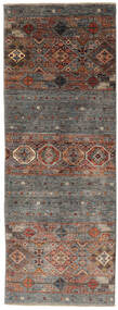 Shabargan Rug 77X208 Authentic  Modern Handknotted Hallway Runner  Dark Brown/Black (Wool, Afghanistan)
