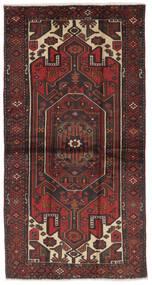 Hamadan Rug 107X207 Authentic Oriental Handknotted Black/Dark Brown (Wool, Persia/Iran)