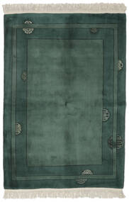 China 90 Line Rug 140X200 Authentic  Oriental Handknotted Black/Dark Turquoise   (Wool, China)