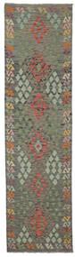 Kilim Afghan Old Style Rug 85X307 Authentic  Oriental Handwoven Hallway Runner  Dark Green/Dark Brown (Wool, Afghanistan)